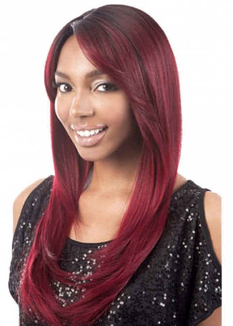 Slanted Fringe Straight Long Wig