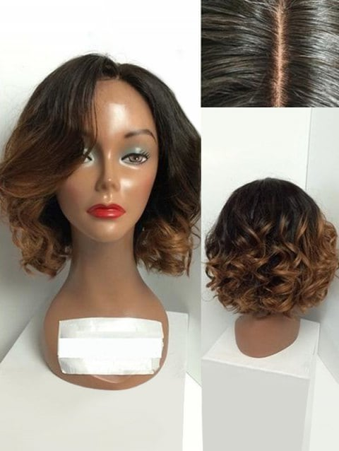 Short Side Parting Big Curly Ombre Synthetic Wig