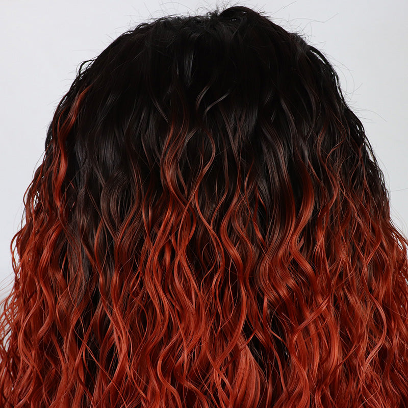 Fantasy Beauty Ombre Orange Loose Curly Synthetic Glueless Lace Front Wigs Dark Roots Heat Resistant for Women