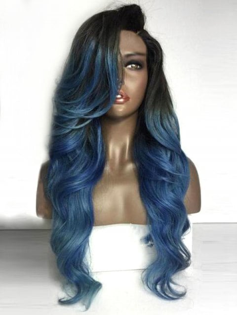 Long Deep Side Parting Colormix Wavy Party Synthetic Wig