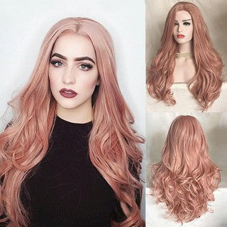 Fashion Synthetic Hair Lace Front Wig Fashion Long Wavy Pink Full Wigs for Women