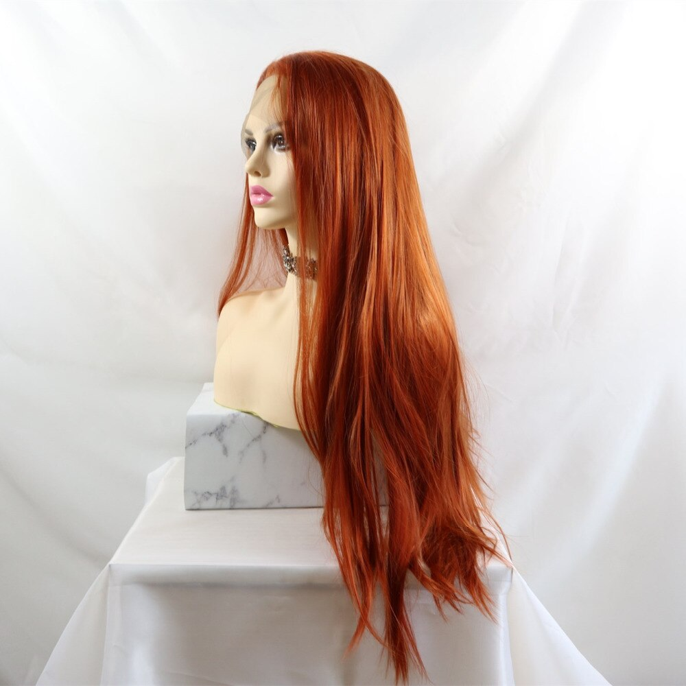 Ladiesstar Long Straight Copper Red Synthetic Lace Front Wigs Natural Looking High Temperature Fiber Fashion Wigs For Women
