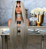 Ombre fashion women's front lace wigs wigs long straight hairpieces
