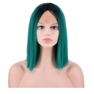Natural Brazilian Sexy Gradient blue Lace Front Wigs Short Stragiht Fashion Wig