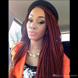 TWIST Braided Wig burgundy wine red senegalese twist Lace Front Wigs