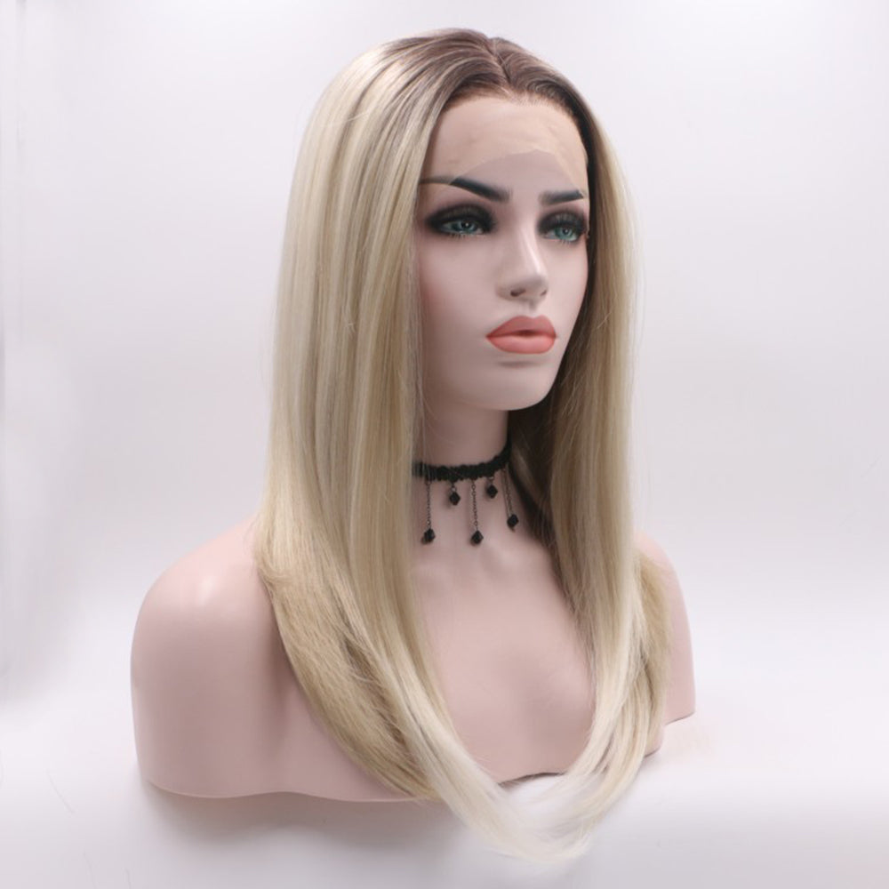 Fantasy Beauty Dark Roots Two Tone Ombre Blonde Wig Short Bob Synthetic Lace Front Wigs Heat Resistant/Free Shipping