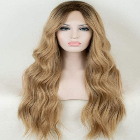 Dyed Gradient Gold High Temperature Synthetic Fiber Wig