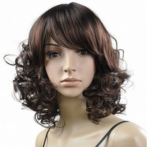 Wig Short Fluffy Brown Small Female High Temperature Silk Hood