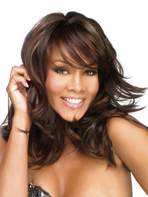 Long Side Bang Colormix Layered Slightly Curly Synthetic Wig