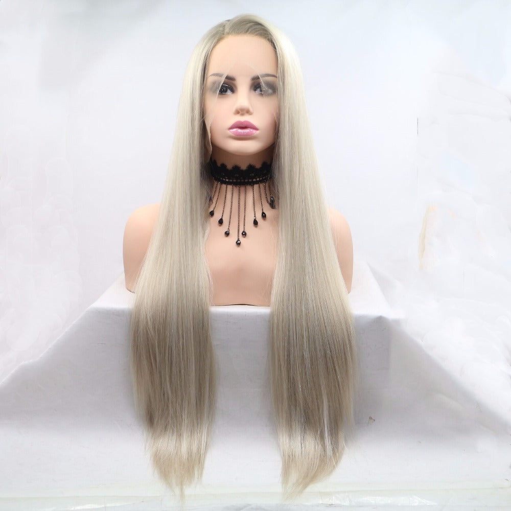 Ladiesstar Glueless Blonde Ombre Lace Front Wigs Synthetic Realistic Looking Side Part Dark Roots Mixed Color