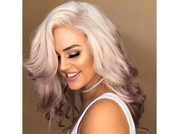 Beautiful White and pink Lace Front Wig for women