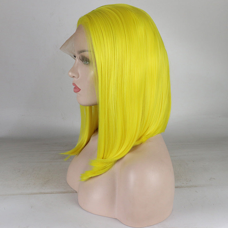 Ladiesstar Yellow Synthetic Lace Front Bob Wig Heat Resistant Fiber Replacement Make Up Wigs For Women/Free Shipping