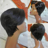 Partial Short Bobo Lace Front Human Hair Wigs For Women Black Color Wig