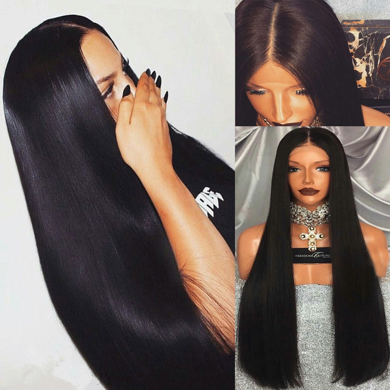 Middle Part Black Long Straight Lace Front Synthetic Lace Front Wig