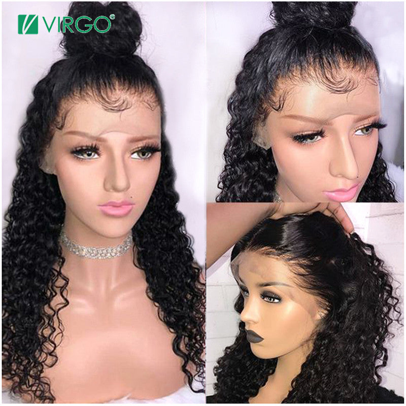 Brazilian Lace  Frontal Wig With Baby Hair Curly Virgin Hair Lace Front Wigs 150% Density