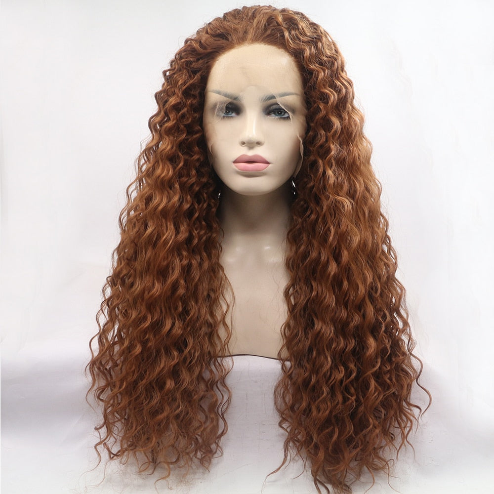 Ladiesstar Water Wave Synthetic Lace Front Wig Loose Curly Heat Resistant Fiber Wig Brown Color With Baby Hairs For Women
