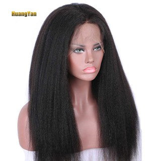 ?HY?Kinky Yaki Straight Lace Front Long Wig Women Girl Natural Looking Party Wig