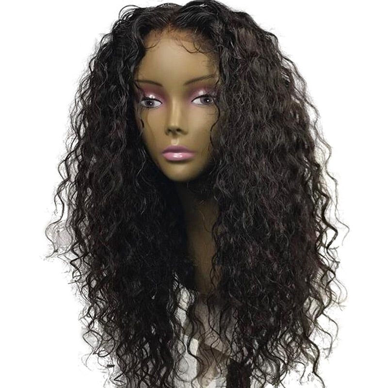 Ladiesstar High Temperature Fiber Synthetic Lace Front Wig Black Loose Curly Makeup Cosplay Wigs For Women