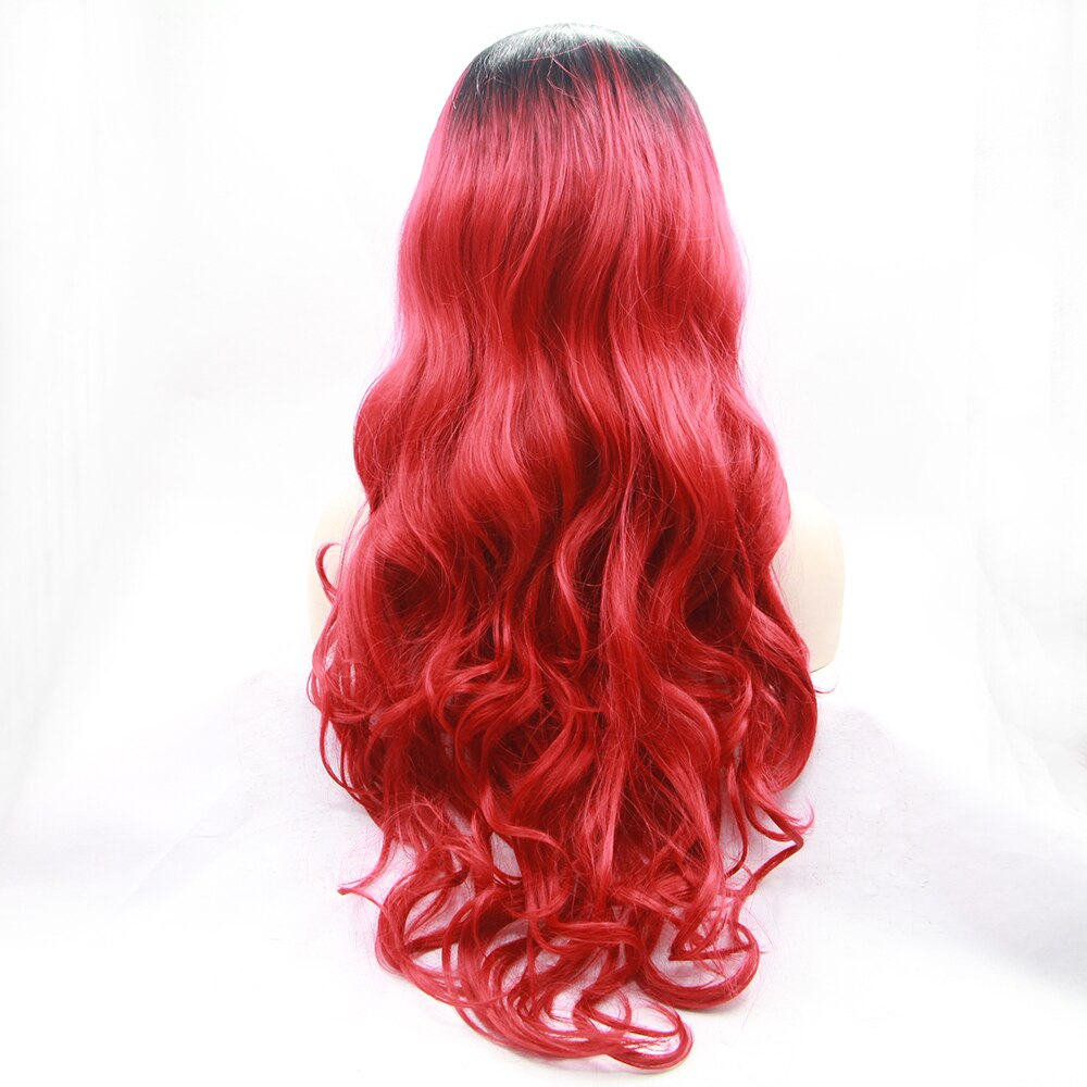 Fantasy Beauty Synthetic Lace Front Wig Long Deep Wavy Wigs Black Root Ombre Red Hair Half Hand Tied for Women for Fancy Dress