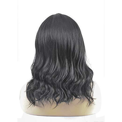 Mid-Length Women Wigs Natural Curly U Part Wig with No Bangs (Black)