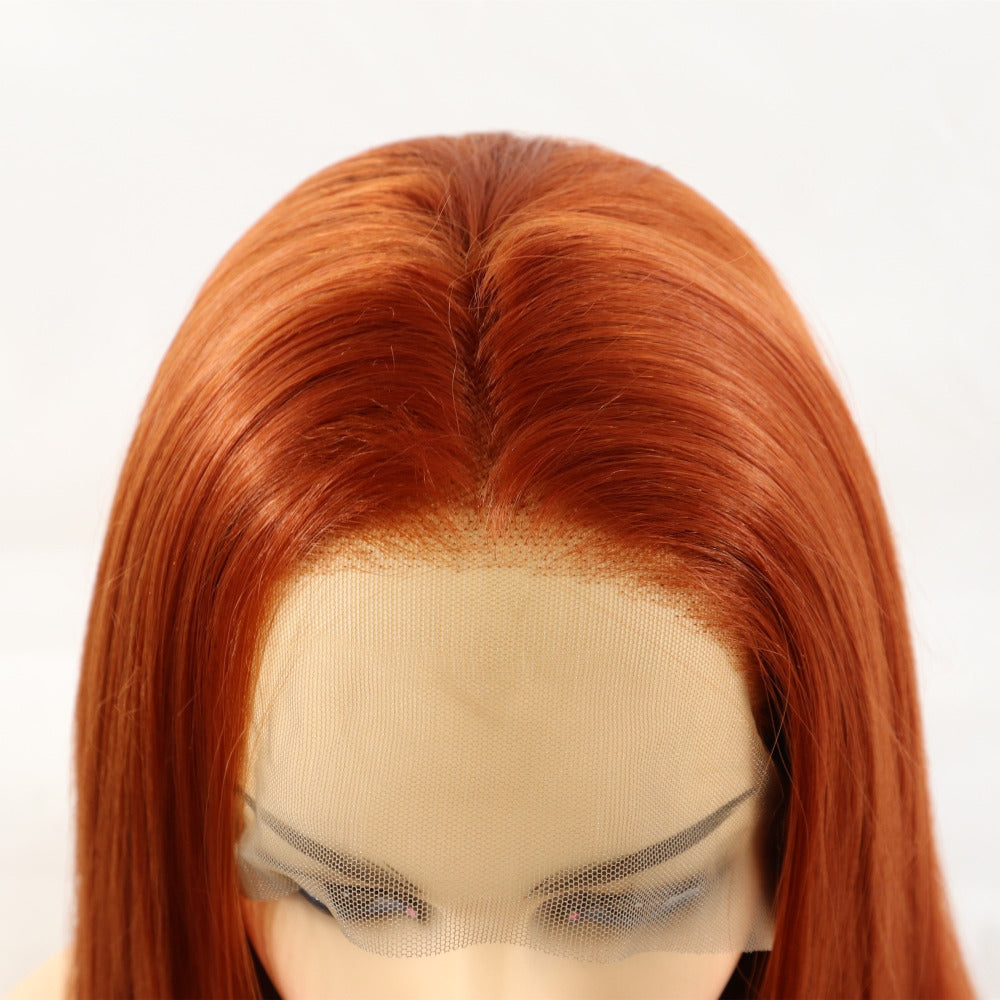 Ladiesstar Long Straight Copper Red Color Synthetic Lace Front Wigs For Women Natural Looking High Temperature Fiber Fashion Wigs