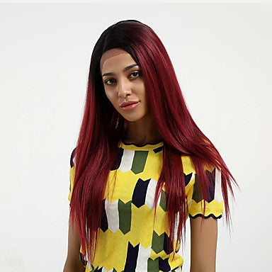 Straight Style Side Part Lace Front Wig Burgundy Black / Burgundy Synthetic Hair/Free Shipping