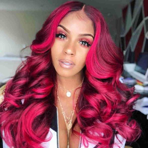 Synthetic Wig kinky Straight Style Middle Part Capless Wig Red Dark