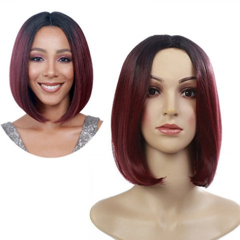 Medium Short Hair Dyed Gradient Wig
