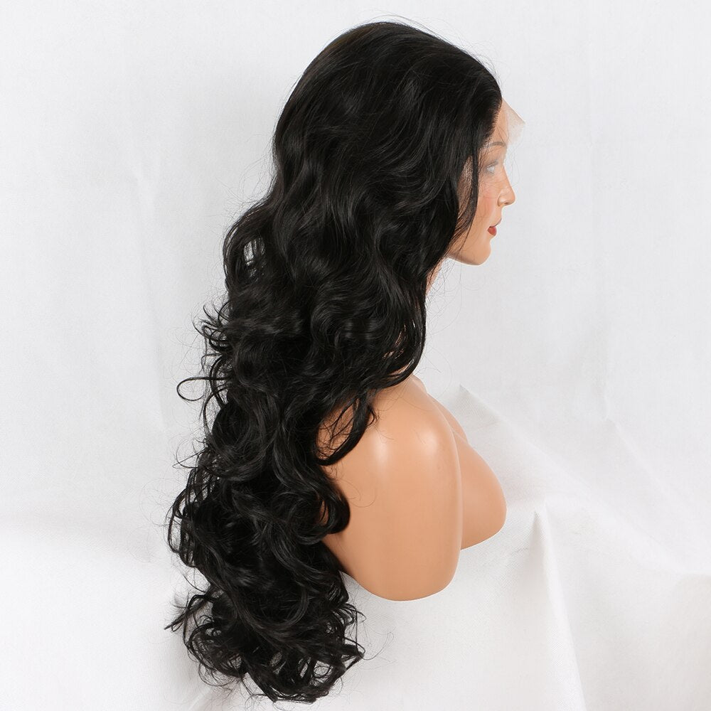 Fantasy Beauty Black #1B Lace Front Wig Long Natural Wavy Soft Fiber Hair Glueless Synthetic Wigs For Women Heat Resisitant/Free Shipping