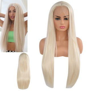 Straight Long Synthetic Lace Front Wig Lace Wigs Women Gold Hair Lace Net