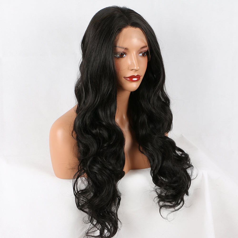 Fantasy Beauty Black #1B Lace Front Wig Long Natural Wavy Soft Fiber Hair Glueless Synthetic Wigs For Women Heat Resisitant
