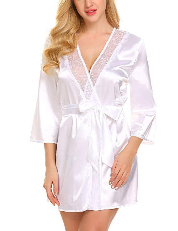 Satin Lace Up Trim Night Robes Bridal Lingerie/Free Shipping