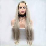 Fantasy Beauty Glueless Blonde Ombre Lace Front Wigs Synthetic Realistic Looking Side Part Long Straight Dark Roots Mixed Color