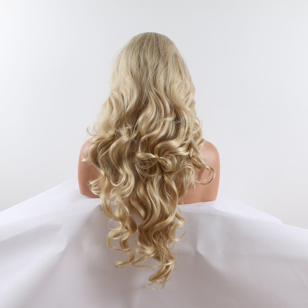Fantasy Beauty  Ombre #613 Blonde Body Wave Synthetic Lace Front Wig With Baby Hair Long Natural Hair Wigs For Women 180 Density
