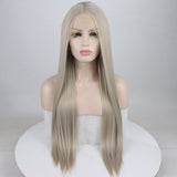 Ladiesstar Realistic Wigs for Women Light Grey Natural Straight Long Synthetic Hair Heat Safe Glueless Lace Front Wig