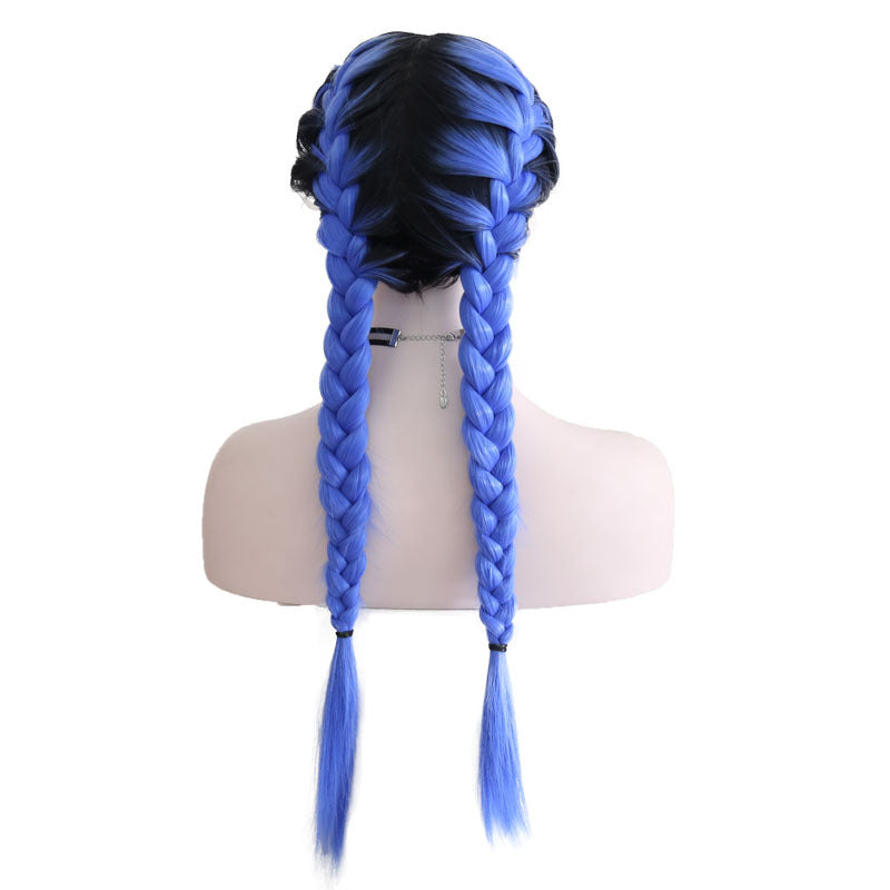New Wig Fashion Middle Score Long Straight Blue Hair Multicolor Optional Braided Wig/Free Shipping