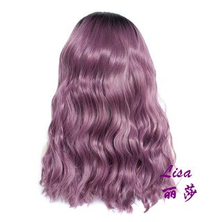 Women Purple Synthetic Hair Lace Front Wig Wavy Curly