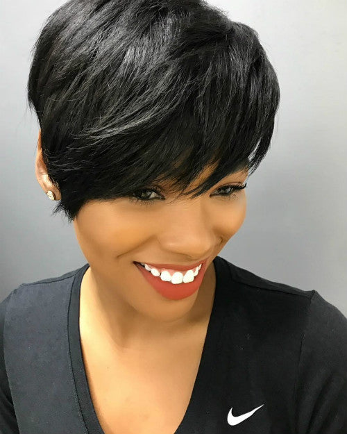 Wigsfox 12  Side Bangs Bob Wigs For African American Women The Same As The Hairstyle In Picture
