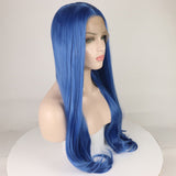 Ladiesstar Dark Blue Synthetic Lace Front Wig Realistic Looking Long Straight  Lace Front Synthetic Wigs For Women