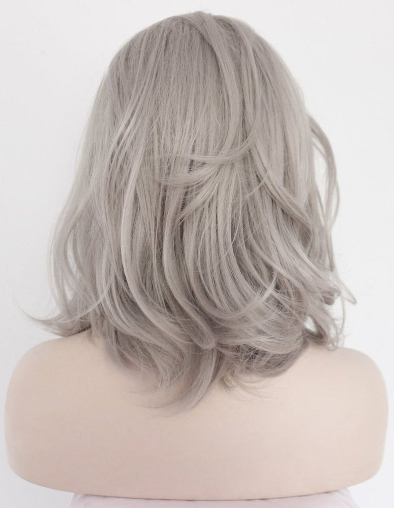 Fantasy Beauty Ombre Grey Synthetic Lace Front Wigs Bob Dark Roots 2 Tones Silver Gray Short Wavy Replacement Full Wig for Women/Free Shipping