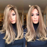 Women Gradient Straight Lace Front Wave Long Wigs/Free Shipping