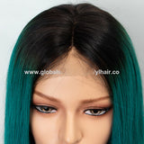Brazilian Remy Side Parting Dark Roots Bule/Green Ombre Short Bob Lace Front Wig For Women