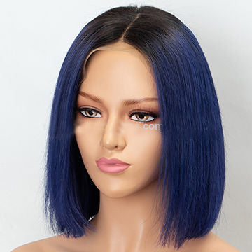 Brazilian Remy Side Parting Dark Roots Bule/Green Ombre Short Bob Lace Front Wig For Women/Free Shipping