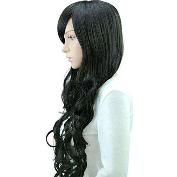 Curly Wig with Inclined Bangs Synthetic Cosplay Daily Party Wig for Women