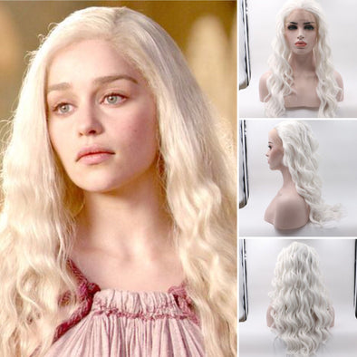 Game of Thrones-Mother of Dragons Front lace wavy white wigs