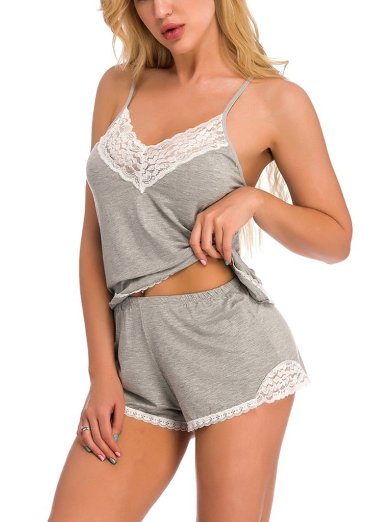 Gray Cotton Lace Trim V-Neck Pajamas Set/Free Shipping