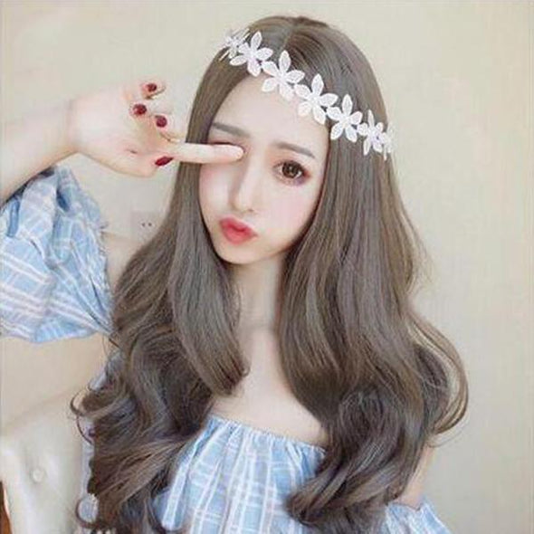 Korean fashion lady long wave hair cute wig