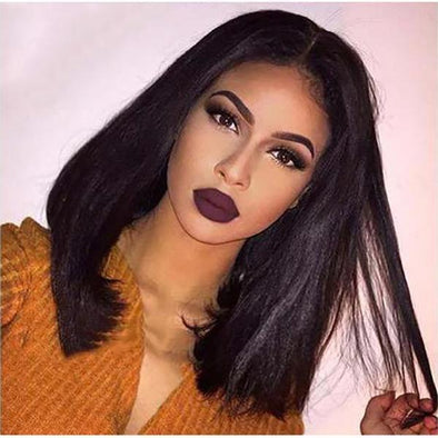 Lace Front Virgin Straight Bob Wig Brazilian Remy Human Hair