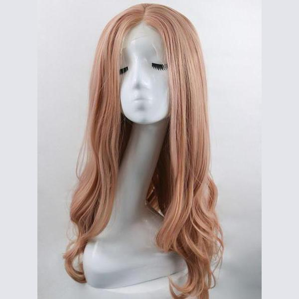 Lala mixed peach pink lace front wig