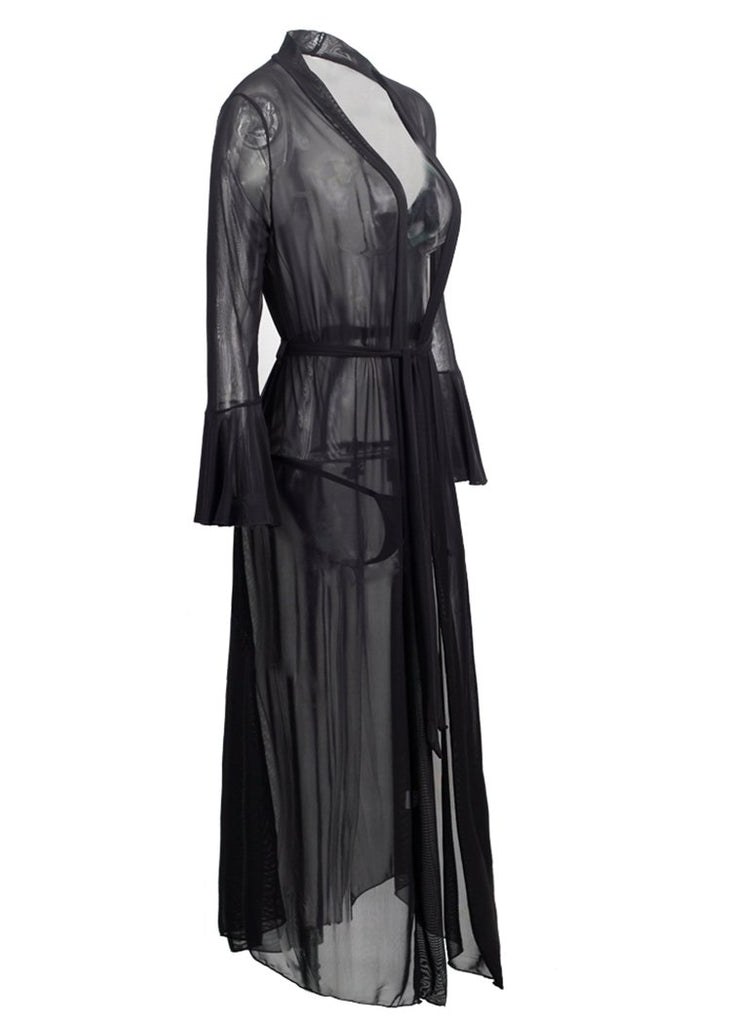 Black Mesh Flare Sleeve Cardigan Lingerie Nightgown/Free Shipping